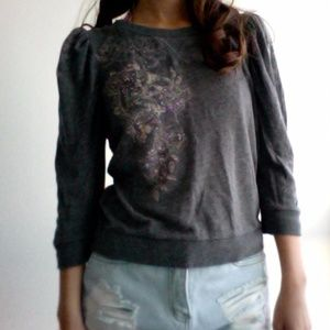 Juicy Couture Size M Grey 3/4 Sleeve Blouse